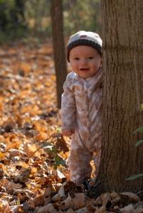 Jude Looking Around a Tree